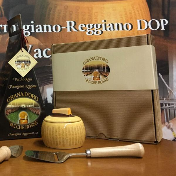 Confezione regalo scatola quadrata Parmigiano Reggiano vacche rosse Grana d'Oro