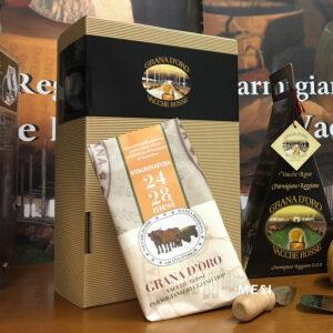 Confezione regalo rettangolare Parmigiano Reggiano vacche rosse Grana d'Oro
